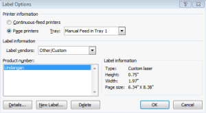 label otomatis - word - label option
